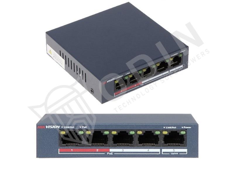 Hikvision DS-3E0105P-E/M Switch PoE 5 Porte 10/100Mbps