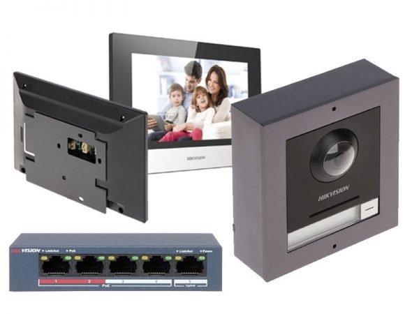 HIKVISION KIT-DS-KD8003-IME1 Kit Videocitofono IP 2 Megapixel 180°+ cornice a parete con monitor Touch Wifi e Switch PoE