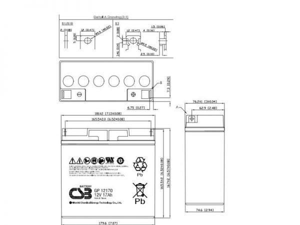CSB GP1270 Batteria al piombo 12V 17 Ah