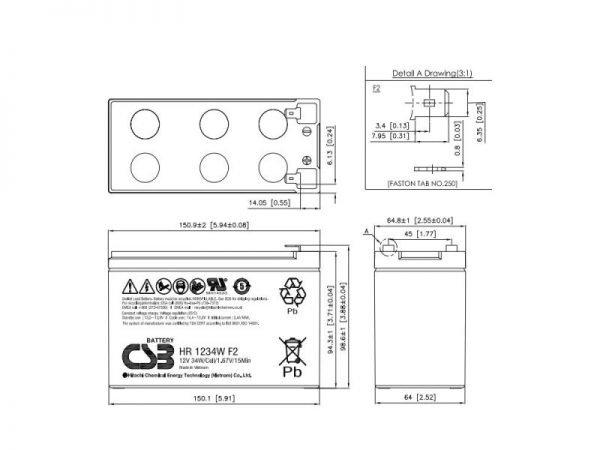 CSB HR1234 Batteria al piombo 12V 9 Ah