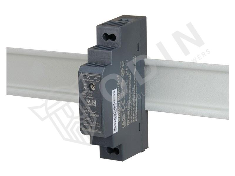 Meanwell HDR-15-12 Alimentatore su guida din 12V 1,25 Ah 15W