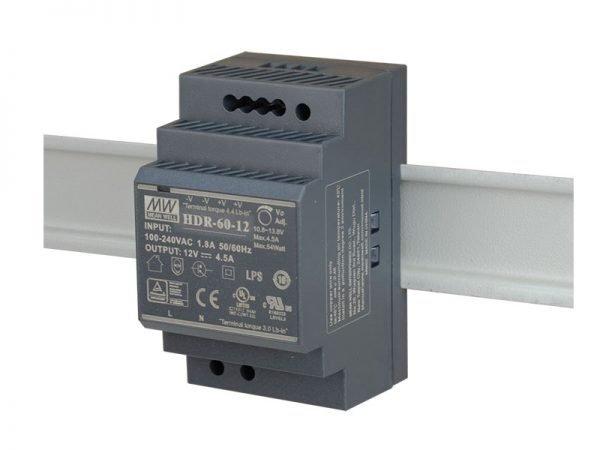 Meanwell HDR-60-12 Alimentatore su guida din 12V 4,5 Ah 54W