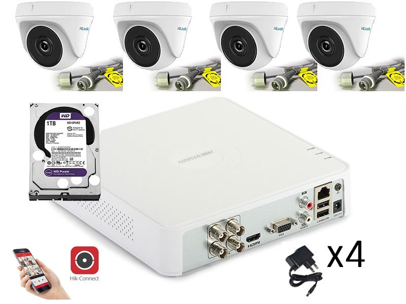 Hikvision KIT-ENTRY-DOME con mini dome 2 Megapixel e DVR 4 ingressi