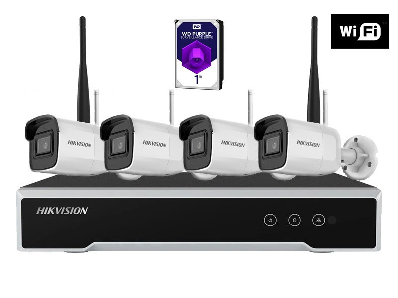 Hikvision NK44W0H-1T(WD) Kit wifi con 4 cam Bullet 4 Megapixel e HDD 1 TB