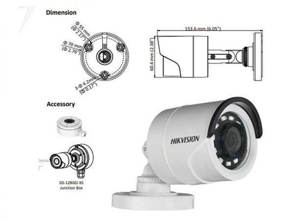 HIKVISION DS-2CE16D0T-I2FB Telecamera bullet con balun integrato ottica 2,8 mm 2 Mpx con IR fino a 20 mt