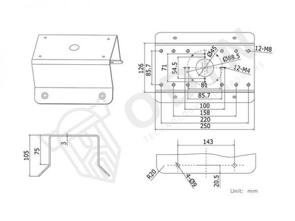 Hikvision DS-1276ZJ Staffa per montaggio ad angolo in metallo colore bianco