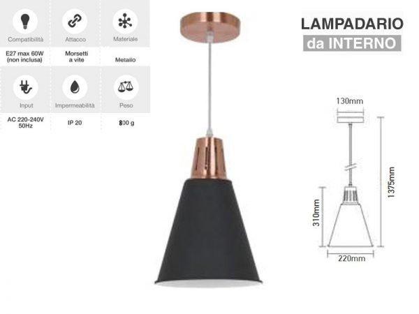 Lampadario in metallo pendente con portalampada per lampadine E27 V-TAC VT-7520