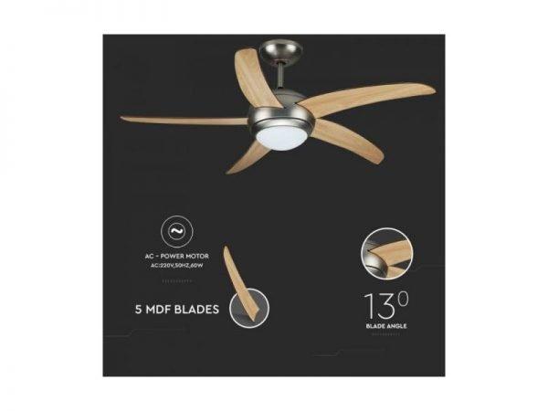 Ventilatore da soffitto 60W con telecomando portalampada per lampadine led E27 V-TAC VT-6053-5