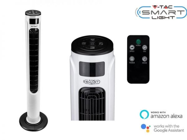 Ventilatore a colonna wi-fi con telecomando e display a led controllabile tramite App Amazon Alexa o Google Home