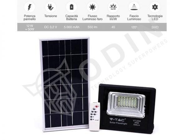 Faro led con telecomando pannello solare 25W con batteria ricaricabile IP65