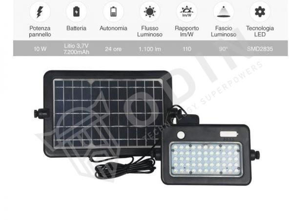 Faro led pannello solare 10W con batteria ricaricabile e sensore PIR di movimento