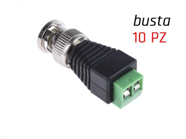 Connettore BNC maschio con morsettiera per impianti videosorveglianza