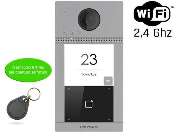 Hikvision DS-KV8113-WME1 Videocitofono wifi 2 MP ottica grandangolo IP65 deocitofono wifi 2 MP ottica grandangolo IP65, alimetazione PoE/12V, antivandalo ed IP, illuminazione fino a 3 mt