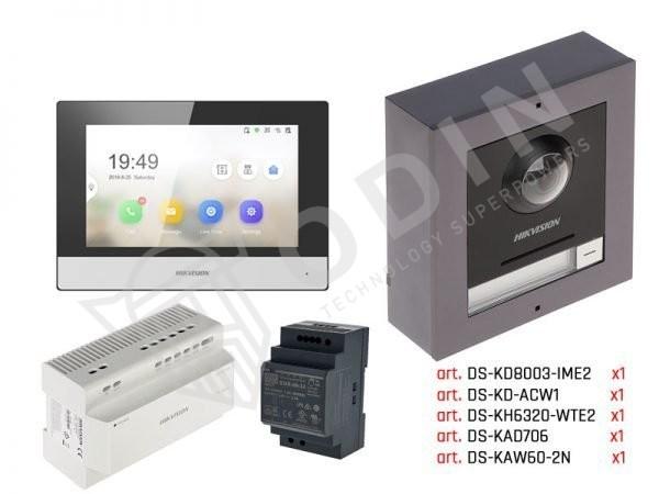Kit videocitofono Hikvision a 2 fili completo di alimentatore, monitor, posto esterno e cassetta