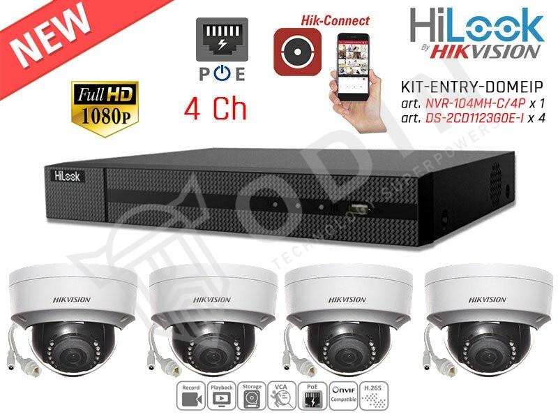 Kit videosorveglianza Full HD con NVR 4 ch PoE e telecamere mini dome 2 megapixel
