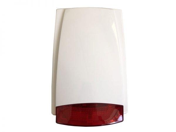 Sirena da esterno filare autoalimentata 115 db led rosso con slot batteria 1,3 Ah