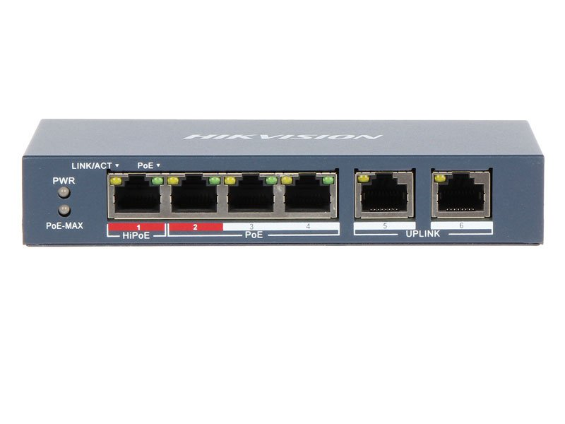 Hikvision DS-3E0106HP-E Switch PoE 6 Porte 10/100Mbps con 2 porte Uplink