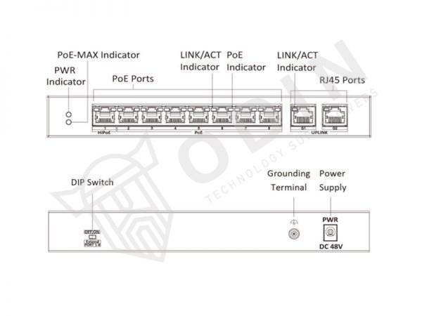 Hikvision DS-3E0310HP-E Switch PoE 10 Porte 10/100Mbps con 2 porte Uplink