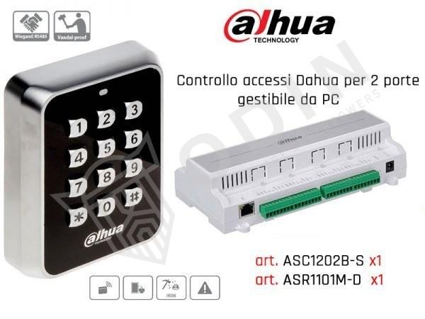 Kit controllo accessi per due porte con tastiera Dahua ASR1101M-D e centrale ASC1202B-S