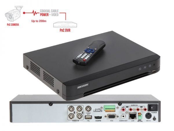 HIKVISION DS-7204HUHI-K1/P Dvr Turbo HD 4 ingressi PoC per telecamere fino a 5 Mpx