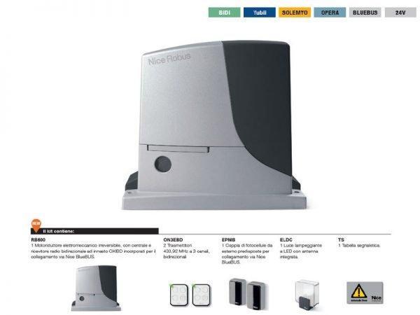 Nice RB600BDKCE Kit automazione per cancelli scorrevoli fino a 600 kg 24 Vdc