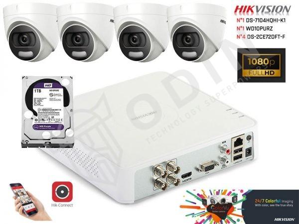 Kit telecamere Hikvision minidome videosorveglianza ColorVu a colori anche di notte 2 Megapixel