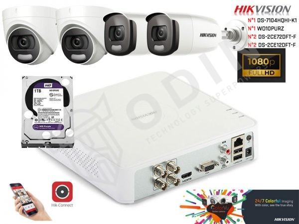 Kit telecamere Hikvision videosorveglianza ColorVu a colori anche di notte 2 Megapixel