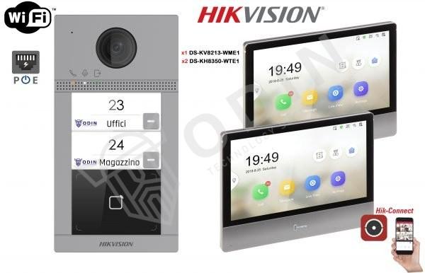 HIKVISION KIT-IPS-DS-KV8213-WME1 Kit Videocitofono bifamiliare IP 2 Megapixel con monitor Touch IPS Wifi