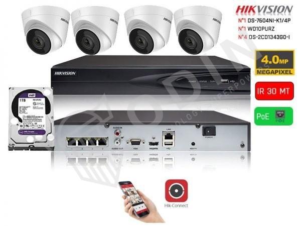 Kit videosorveglianza PoE Hikvision con mini dome 4 Megapixel IR 30 mt e HDD 1 Terabyte