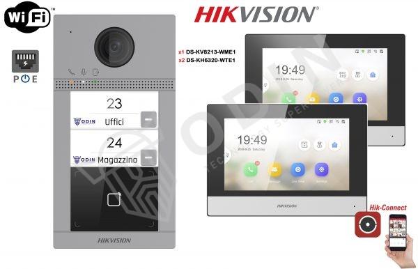 HIKVISION KIT-DS-KV8213-WME1 Kit Videocitofono bifamiliare IP 2 Megapixel con monitor Touch Wifi
