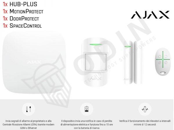 AJAX STARTERKITPLUS Kit allarme wireless 3G con sensore, contatto magnetico e telecomando