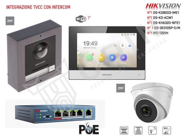 Kit intercom Hikvision 2 Megapixel con telecamera dome inclusa, switch PoE e cornice da parete